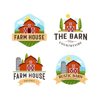 Плоская коллекция дизайна логотипа фермы