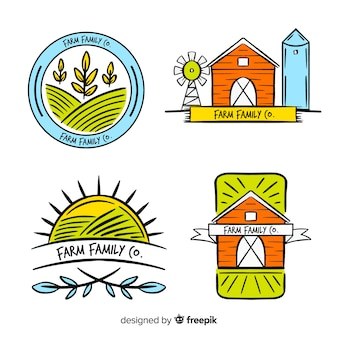 Flat farm logo template collection