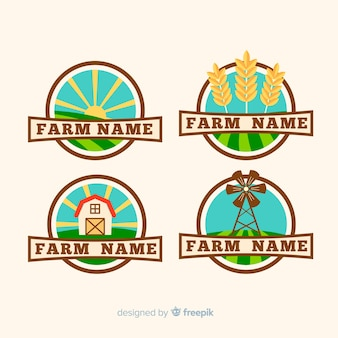 Flat farm logo template collection