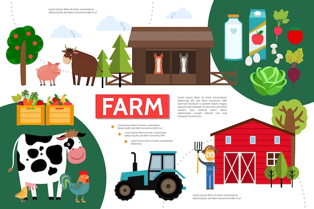 Flat farming and agriculture infographic template