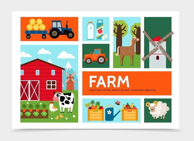 フラット農業のインフォグラフィックの概念