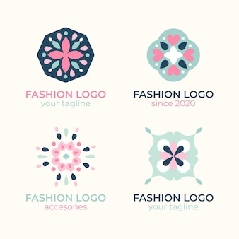 Flat fashion accessories logo collection