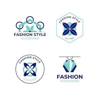 Плоский набор модных аксессуаров с логотипом