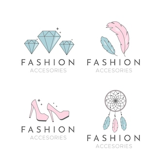 Flat fashion accessories logo pack