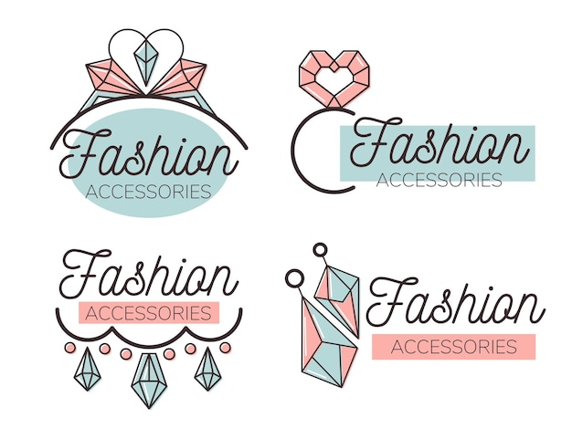 Flat fashion accessories logo set
