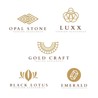 Набор плоских модных аксессуаров с логотипом