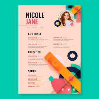 Flat fashion designer cv template