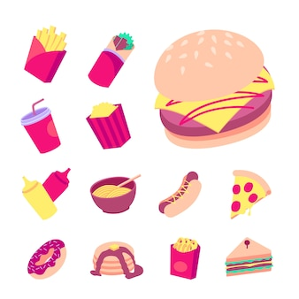 Flat fast food  collection