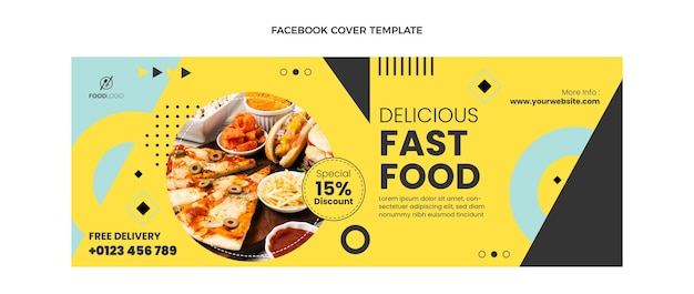 Flat fast food facebook cover