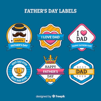 Flat father's day badge collection
