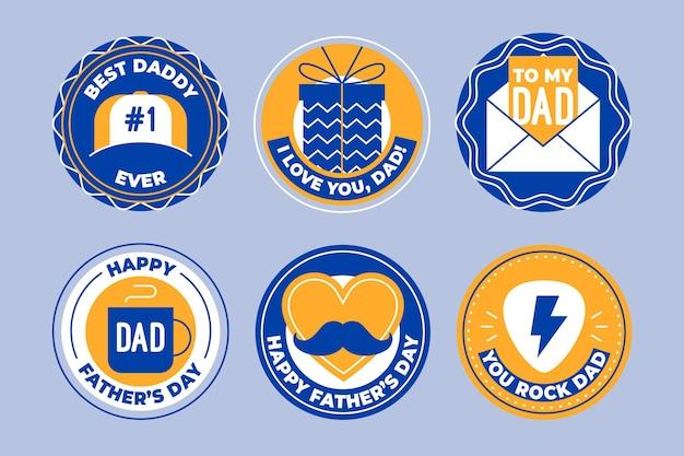 Collezione di distintivi per la festa del papà piatto