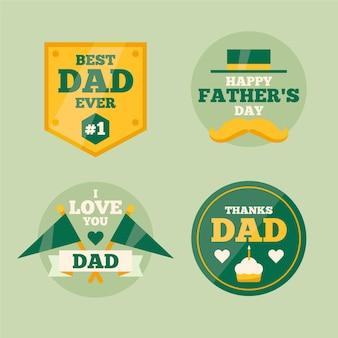 Плоская коллекция значков ко дню отца