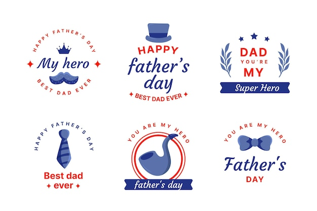 Flat father's day badges collection
