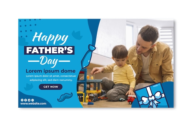 Flat father's day banner template