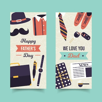 Набор плоских баннеров ко дню отца