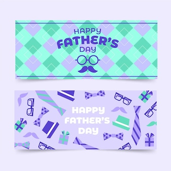 Flat father's day banners set