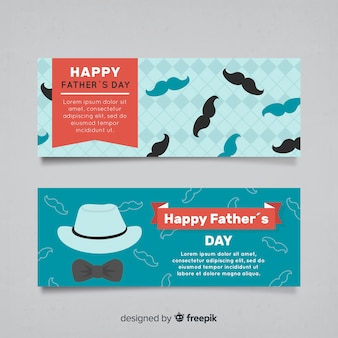 Flat father's day banners
