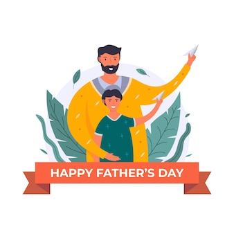 Flat father's day illustration