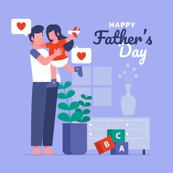Flat father's day illustration Free Vector
