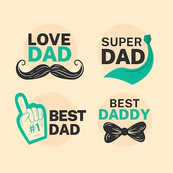 Flat father's day label collection