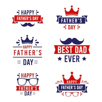 Flat father's day labels collection