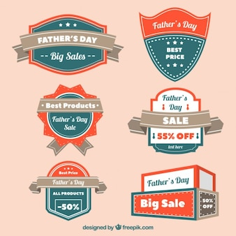 Flat father's day offer badge collection in vintage style