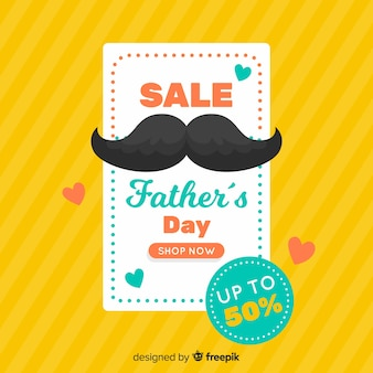 Flat father's day sales background