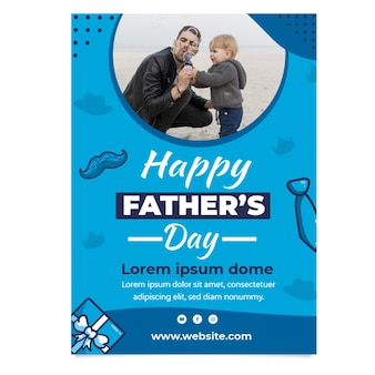 Flat father's vertical poster template
