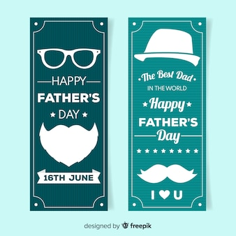 Flat fathers day banners