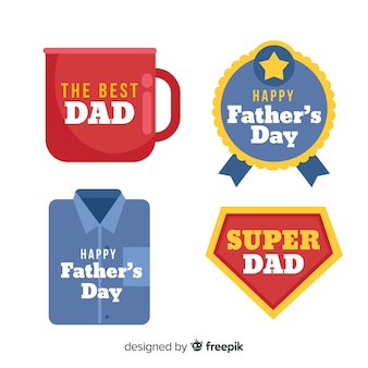 Flat fathers day label collection