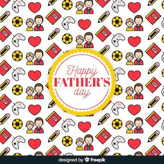 Flat fathers day pattern background