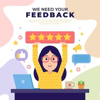 Flat feedback concept illustration