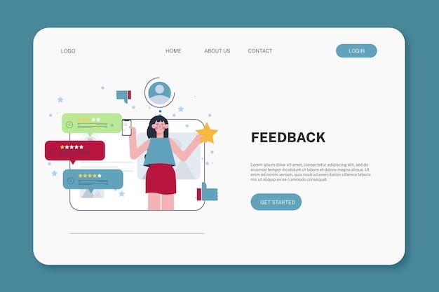 Flat feedback landing page template
