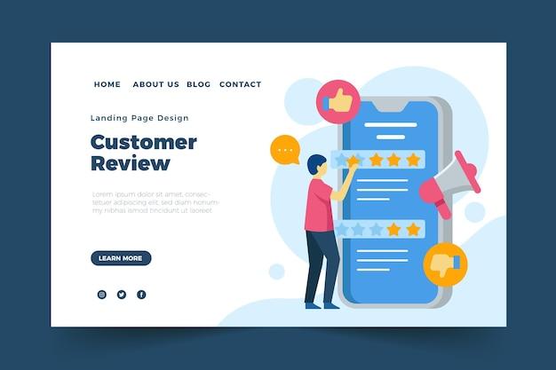 Modello di pagina di destinazione con feedback piatto