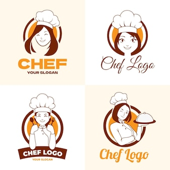 Flat female chef logo collection