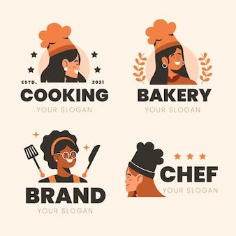플랫 여성 요리사 로고 컬렉션