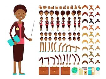 Плоский женский учитель или профессор создание персонажа вектор конструктор