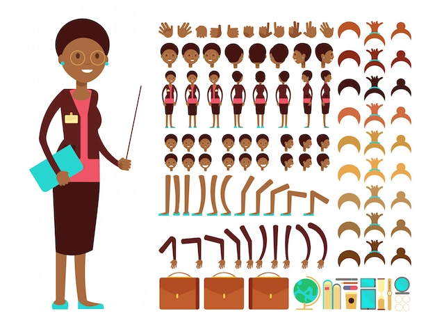 Flat female teacher or professor character creation vector constructor