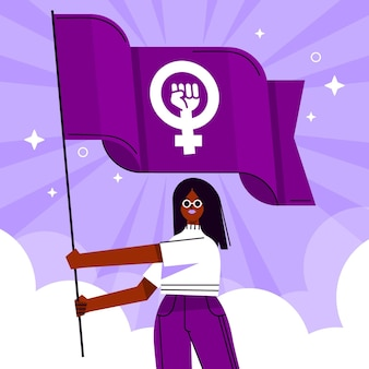 Flat feminist flag illustration with woman