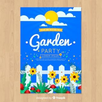 Шаблон плаката вечеринка весна плоский забор