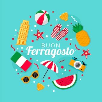 Flat ferragosto illustration