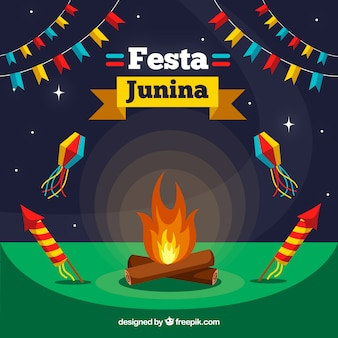 Flat festa junina background with bonfire