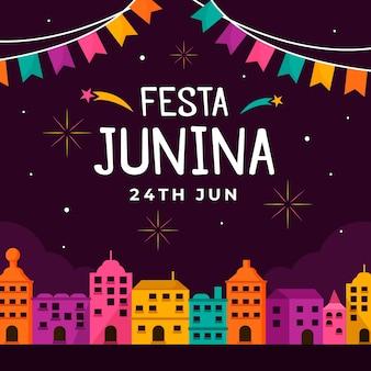 플랫 축제 junina 배경