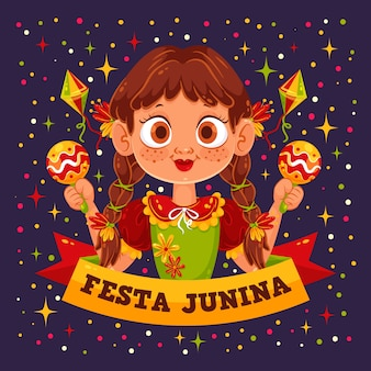 Flat festa junina background
