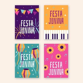 Flat festa junina cards collection
