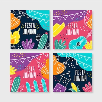 Flat festa junina cards collection