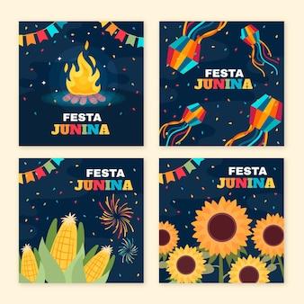 Collezione di carte flat festa junina