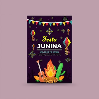 Flat festa junina celebration background