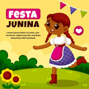 Flat festa junina event background