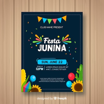 Flat festa junina flyer template